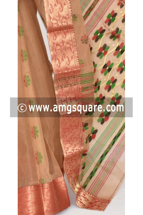 Fawn Handwoven Bengal Tant Cotton Saree (Without Blouse) Zari Border 14111