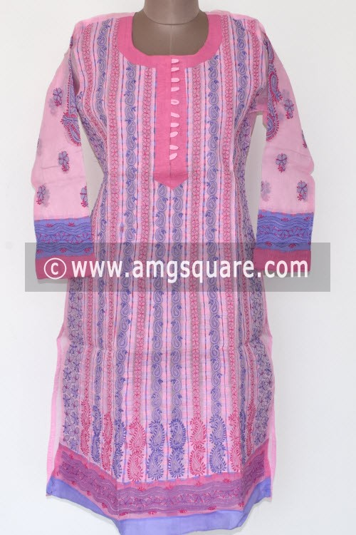 Pink Hand Embroidered Lucknowi Chikankari Long Kurti (Cotton) Bust-42 inch 17879