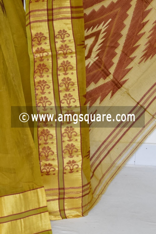 Menhdi Green Handwoven Bengal Tant Cotton Saree (Without Blouse) 17366