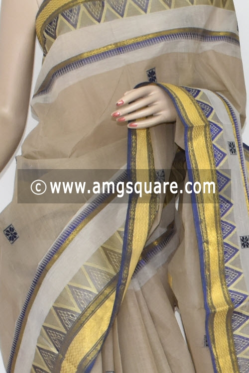 Beige Handwoven Dhaniakhali Bengal Tant Cotton Saree (Without Blouse) 13937