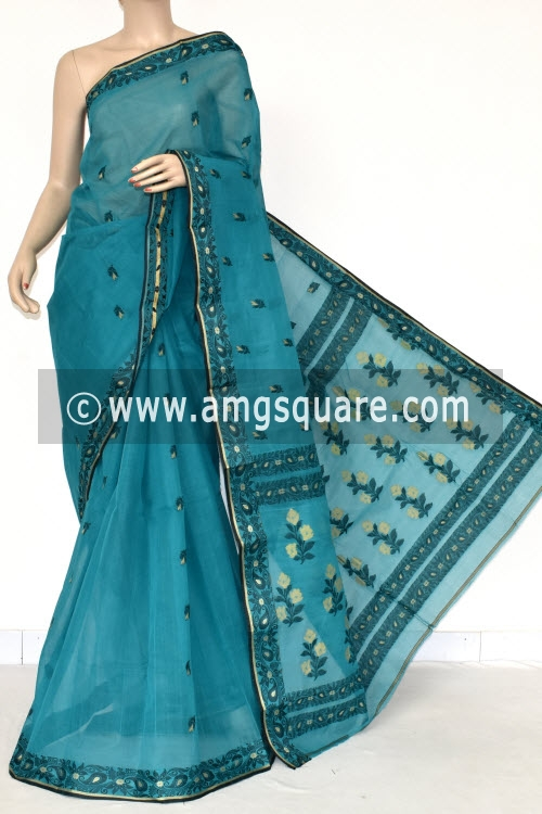 Sea Green Handwoven Bengal Tant Cotton Saree (Without Blouse) Resham Border 17399