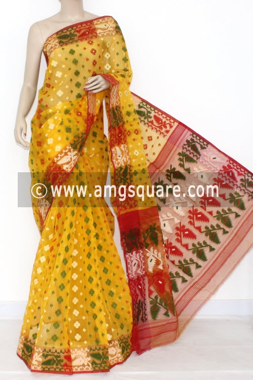 Yellow Handwoven Bengali Tant Kora Cotton Jamdani Saree (Without Blouse) 17211