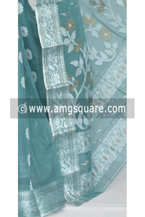 Greenish Grey Handwoven Bengal Tant Cotton Saree (Without Blouse) Silver Zari Border 17008
