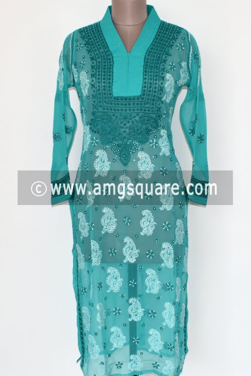 Sea Green Hand Embroidered Lucknowi Chikankari Long Kurti (Georgette) Bust-42 inch 17896