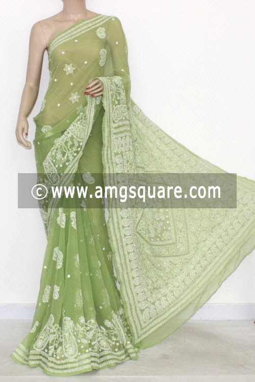 Pista Green Hand Embroidered Lucknowi Chikankari Saree (With Blouse - Georgette) 14478