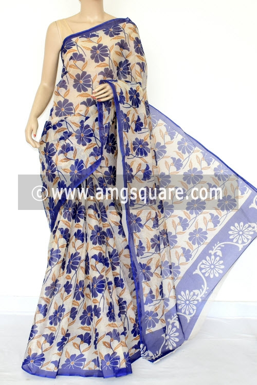 Blue Premium JP Kota Doria Printed Cotton Saree (without Blouse) 15429