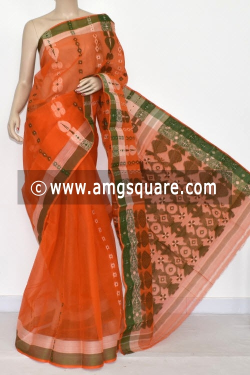 Orange Handwoven Bengal Tant Cotton Saree (Without Blouse) 14076