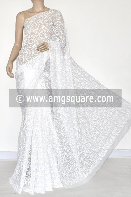 White Hand Embroidered Allover Tepchi Work Lucknowi Chikankari Saree (Georgette) 14880