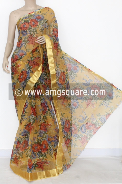 Mustared Yellow JP Kota Doria Printed Cotton Saree (without Blouse) Zari Border 15305