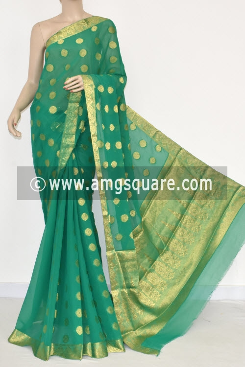 Green Handloom Semi-Chiffon Saree (with Blouse) Allover Zari Border and Booti 16195