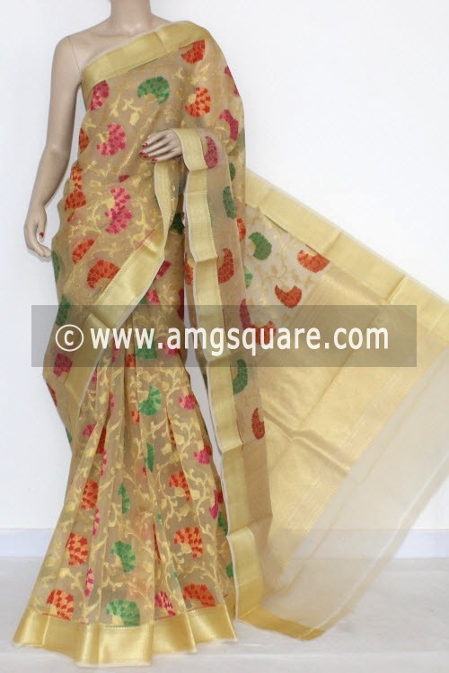 Fawn Banarasi Kora Cot-Silk Printed Handloom Saree (With Blouse) Golden Zari 16114