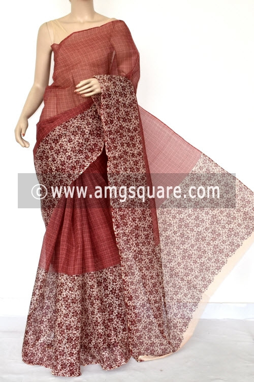 Maroon Brown Half-Half Premium JP Kota Doria Printed Cotton Saree (without Blouse) 15407