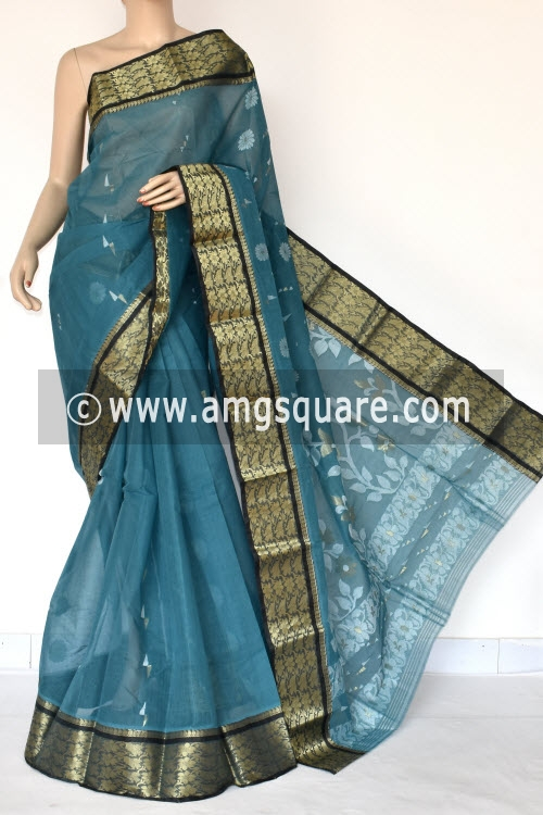 Greyish Blue Handwoven Bengali Tant Cotton Saree (Without Blouse) 14002