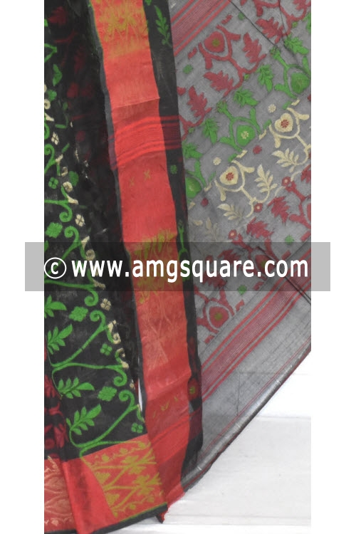 Black Red Jamdani Handwoven Bengal Tant Cotton Saree (Without Blouse) 13961