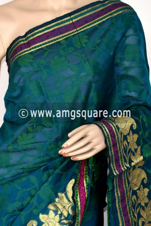 Bluish Green Handloom Banarasi Semi Cotton Saree (with Blouse) Zari Border Resham Weaving 16232
