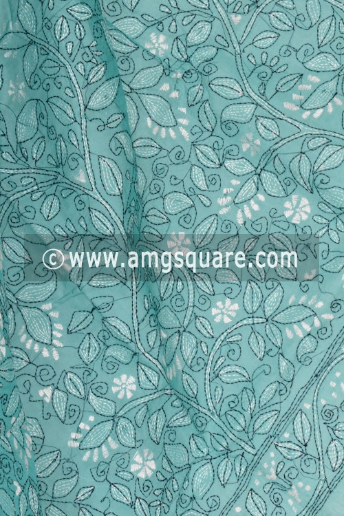 Sea Green Hand Embroidered Kantha Work Bengal Tant Cotton Saree (Without Blouse) 17226