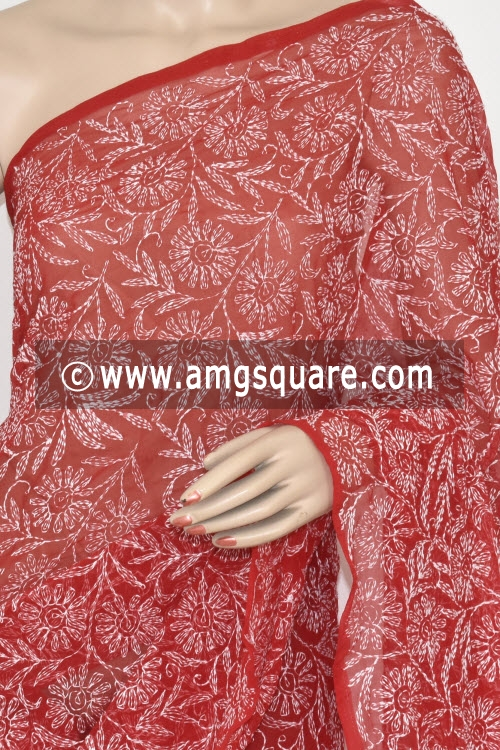 Maroon Allover Tepchi Work Hand Embroidered Lucknowi Chikankari Saree (With Blouse - Georgette) 14834