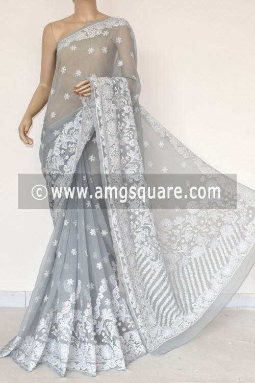 Grey Hand Embroidered Lucknowi Chikankari Saree (With Blouse - Georgette) Allover Booti 14580