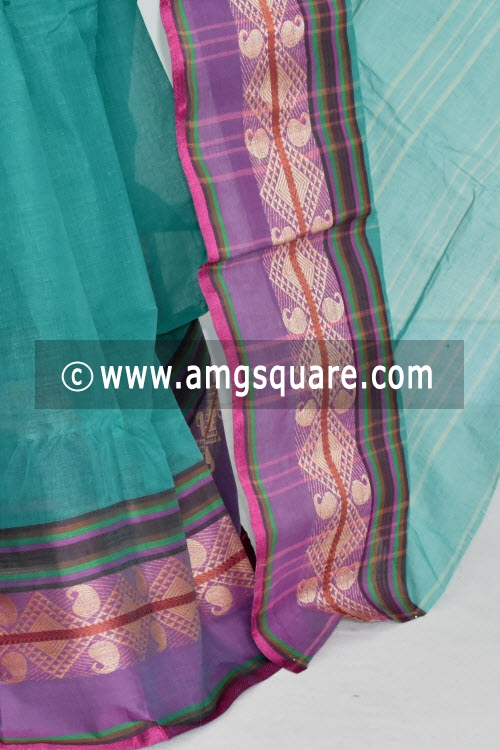 Sea Green Handwoven Bengal Tant Cotton Saree (Without Blouse) 13266