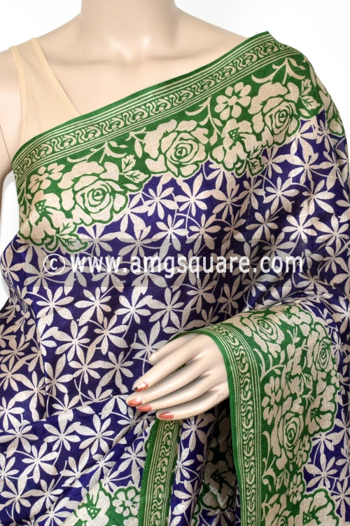 Blue Green Tusser Art Silk Printed Saree (With Blouse) 13451
