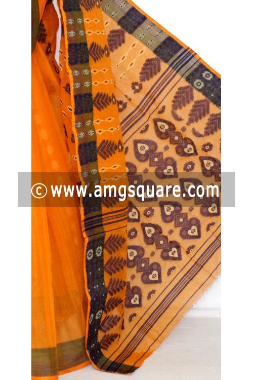 Orange Handwoven Bengali Tant Cotton Saree (Without Blouse) 14056