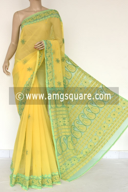 Yellow Sea Green Designer Hand Embroidered Lucknowi Chikankari Saree (With Contrast Blouse - Georgette) 14607