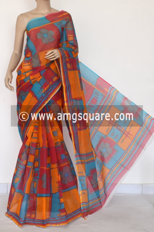 Red Yellow Premium JP Kota Doria Printed Cotton Saree (without Blouse) 15403