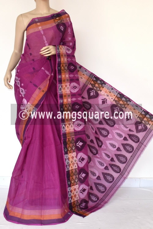 Magenta Handwoven Bengali Tant Cotton Saree (Without Blouse) 14170