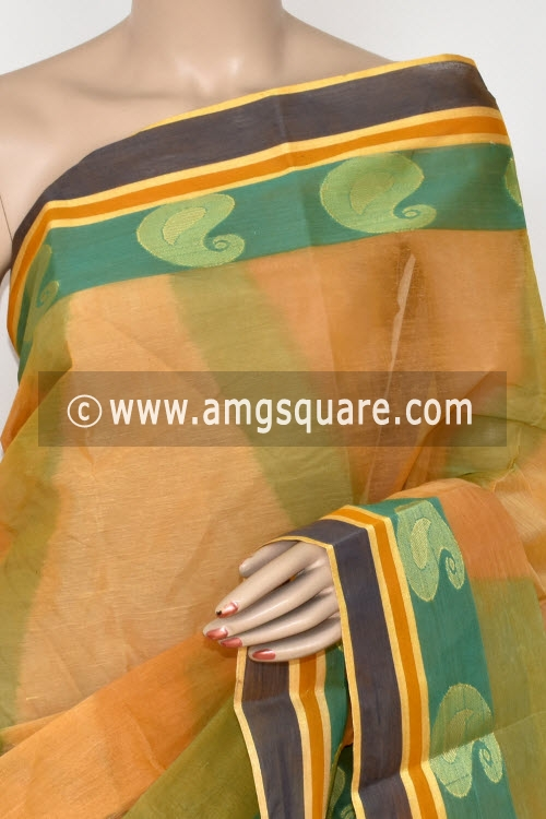 Yellow Printed Handwoven Bengal Tant Cotton Saree (Without Blouse) 17145
