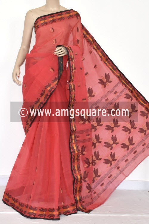 Peach Handwoven Designer Bengali Tant Cotton Saree (Without Blouse) Resham Border 17091