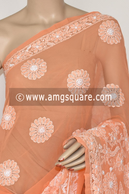 Light Orange Hand Embroidered Lucknowi Chikankari Saree (With Blouse - Georgette) 14572