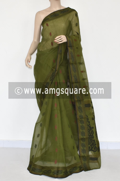 Menhdi Green Handwoven Bengal Tant Cotton Saree (Without Blouse) Resham Border 17371