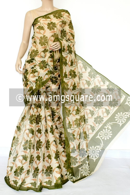 Green Premium JP Kota Doria Printed Cotton Saree (without Blouse) 15428