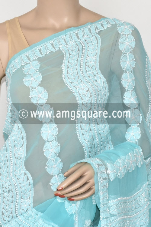 Pherozi Blue Designer Hand Embroidered Lucknowi Chikankari Saree (With Blouse - Georgette) 14601