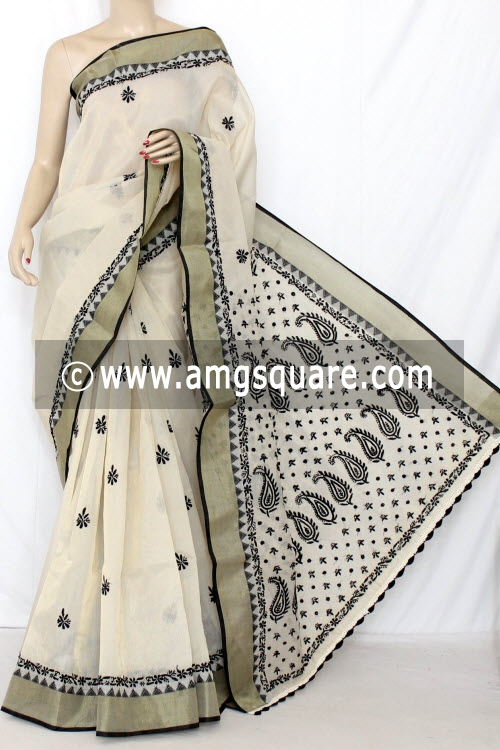 Beige Hand Embroidered Lucknowi Chikankari Saree (With Blouse - Supernet) 13750