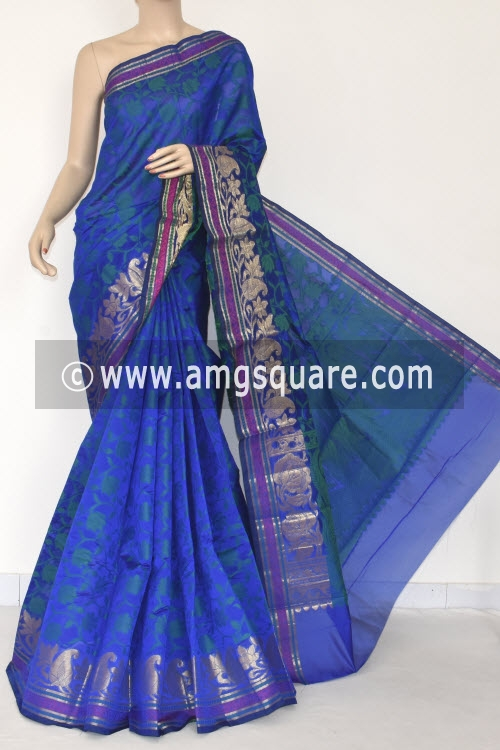 Royal Blue Handloom Banarasi Semi Cotton Saree (with Blouse) Zari Border Resham Weaving 16234