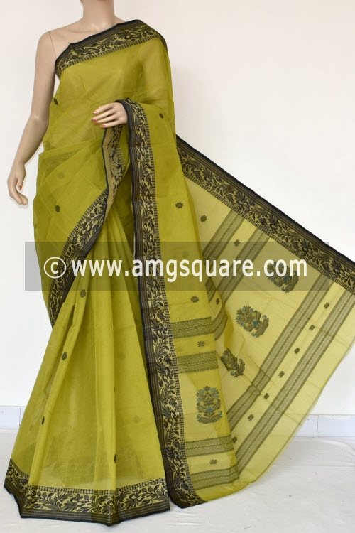 Menhdi Green Handwoven Bengal Tant Cotton Saree (Without Blouse) 17036