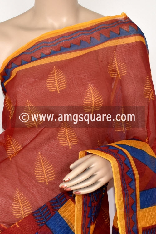 Yellow Red Blue Premium JP Kota Doria Printed Cotton Saree (without Blouse) 15396