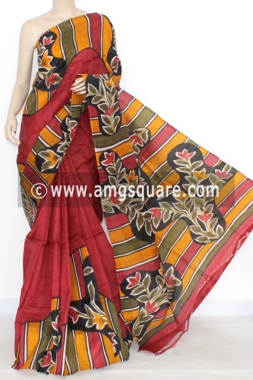 Maroon Designer Handprinted Double Knitted Bishnupuri Pure Silk Saree (With Blouse) 16147
