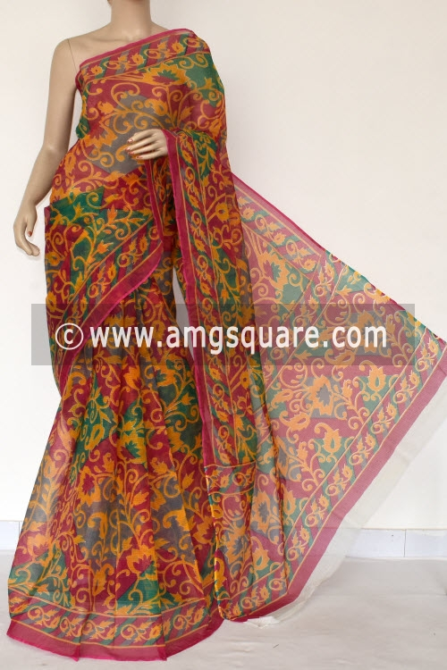 Red Premium JP Kota Doria Printed Cotton Saree (without Blouse) 15384