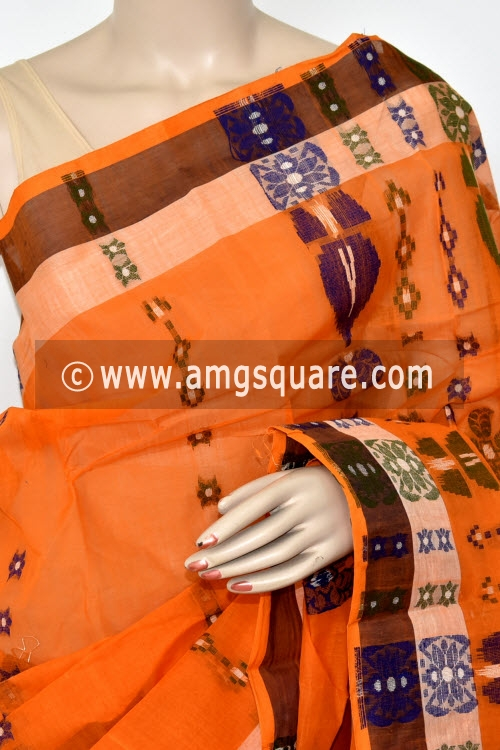 Orange Handwoven Bengal Tant Cotton Saree (Without Blouse) 14072