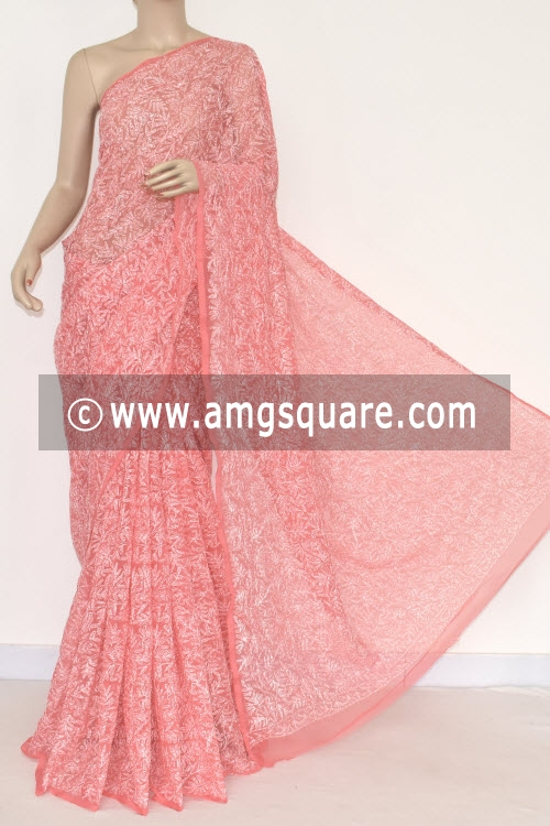 Peach Allover Tepchi Work Hand Embroidered Lucknowi Chikankari Saree (With Blouse - Georgette) 14838
