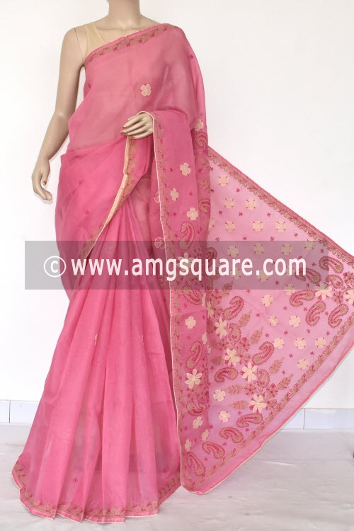 Pinkish Onion Applique Work Hand Embroidered Lucknowi Chikankari Saree (With Contrast Blouse - Cotton) 14728