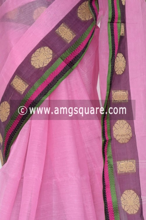 Pink Handwoven Bengal Tant Cotton Saree (Without Blouse) 14261
