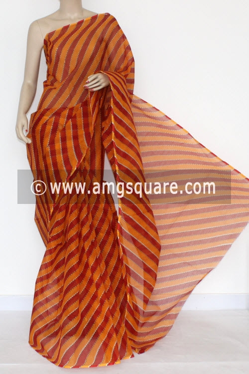 Red Orange Premium JP Kota Doria Laharia Printed Cotton Saree (without Blouse) 15289