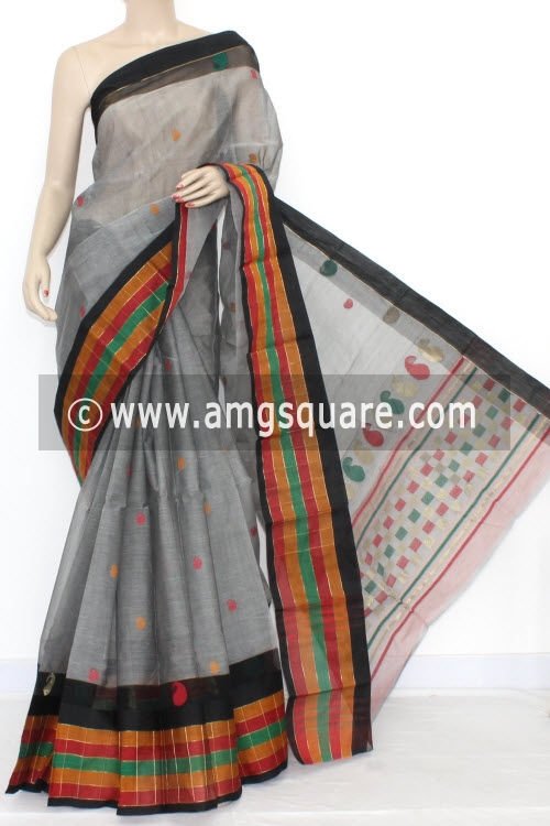 Grey Handwoven Partywear Bengal Tant Cotton Saree (With Blouse) 17088