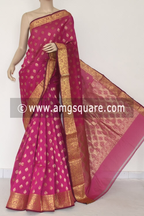 Rani Pink Handloom Banarasi Kora Saree (with Blouse) Zari Border and Allover Booti 16255