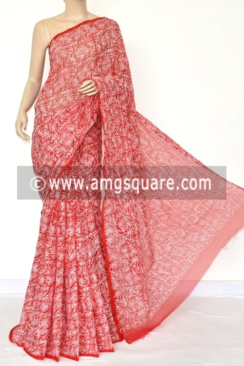Red Hand Embroidered Allover Tepchi Work Lucknowi Chikankari Saree (Georgette) 14710