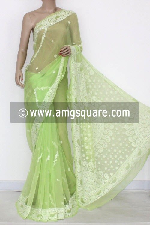Pista Green Hand Embroidered Lucknowi Chikankari Saree (With Blouse - Georgette) 14458