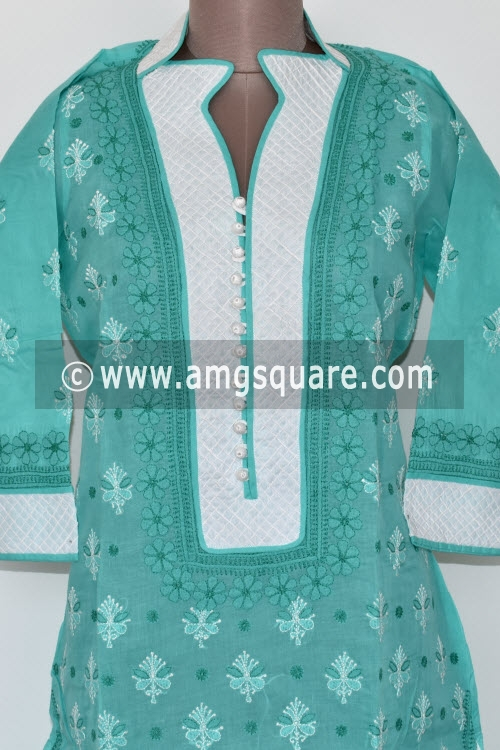 Sea Green Hand Embroidered Lucknowi Chikankari Long Kurti (Cotton) Bust-44 inch 17881